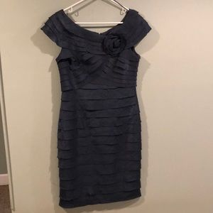 London Times Blue shirred Party dress